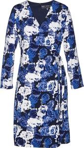 Niebieska sukienka bonprix z dekoltem w kształcie litery v mini z długim rękawem
