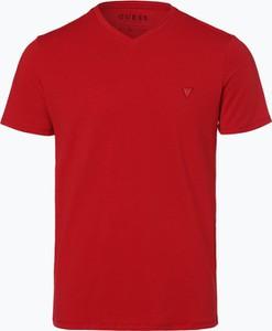 Czerwony t-shirt Guess Jeans w stylu casual z jeansu z krótkim rękawem