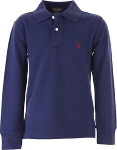 Granatowa koszulka dziecięca Ralph Lauren z bawełny z długim rękawem