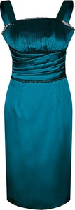 Zielona sukienka Fokus z krótkim rękawem z szyfonu midi