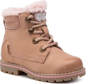 Brązowe buty dziecięce zimowe Lasocki Kids sznurowane