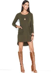 Sukienka Makadamia asymetryczna z długim rękawem