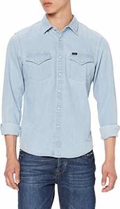 Niebieska koszula amazon.de z jeansu