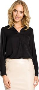 Czarna bluzka MOE z długim rękawem z dekoltem w kształcie litery v
