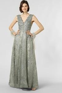 Srebrna sukienka Luxuar Fashion z dekoltem w kształcie litery v maxi rozkloszowana