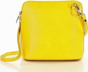 Żółta torebka Vera Pelle na ramię ze skóry