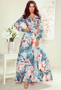Sukienka NUMOCO z tkaniny maxi z dekoltem w kształcie litery v
