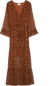 Brązowa sukienka Grace & Mila z tkaniny