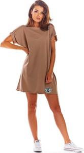 Brązowa sukienka Infinite You z okrągłym dekoltem oversize
