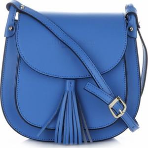 Niebieska torebka VITTORIA GOTTI przez ramię z frędzlami w stylu boho