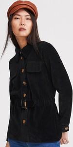 Czarna marynarka Reserved krótka na guziki ze sztruksu