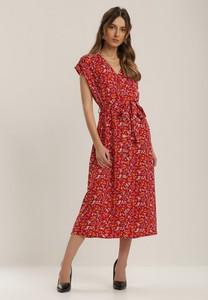 Sukienka Renee z krótkim rękawem z dekoltem w kształcie litery v midi