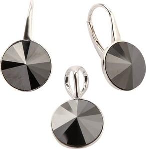 Polcarat Design Srebrny komplet (kolczyki i wisiorek) z kryształami Swarovskiego KPL 1670 : Kolor - Jet