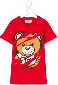 Czerwona koszulka dziecięca Moschino Kids z bawełny