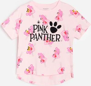 Różowa koszulka dziecięca Reserved dla dziewczynek z krótkim rękawem