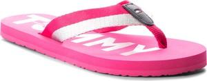 Różowe klapki Tommy Hilfiger ze skóry z płaską podeszwą w sportowym stylu