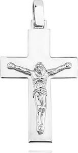 Valerio Elegancki duży rodowany srebrny gładki krzyżyk krzyż z wizerunkiem Chrystusa srebro 925 KS0202C