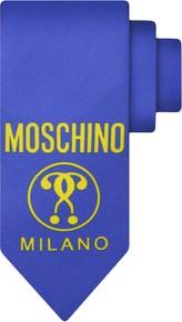Niebieski krawat Moschino z jedwabiu