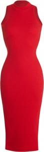 Czerwona sukienka Ivon bez rękawów z bawełny