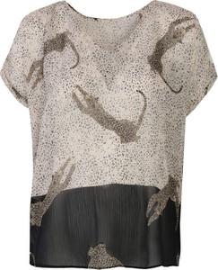 Bluzka Top Secret z szyfonu z okrągłym dekoltem z krótkim rękawem