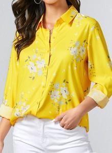 Żółta bluzka Cikelly z długim rękawem z dekoltem w kształcie litery v