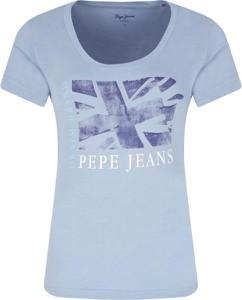 Niebieski t-shirt Pepe Jeans w stylu casual z okrągłym dekoltem