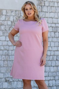 Różowa sukienka KARKO z krótkim rękawem w stylu casual mini