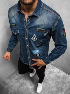Niebieska koszula ozonee.pl z długim rękawem z klasycznym kołnierzykiem z jeansu