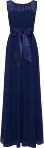 Niebieska sukienka Dorothy Perkins maxi z szyfonu z okrągłym dekoltem