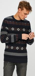 Granatowy sweter Selected z dzianiny