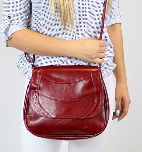 Czerwona torebka DAN-A na ramię ze skóry duża