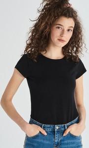 Czarny t-shirt Sinsay w stylu casual z bawełny z krótkim rękawem