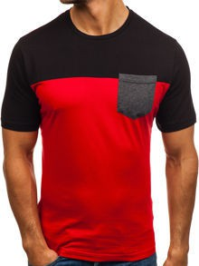 Czerwony t-shirt Denley w stylu casual z bawełny z krótkim rękawem