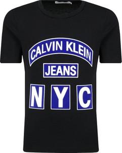 Czarna koszulka dziecięca Calvin Klein z krótkim rękawem z jeansu