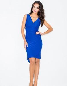 Niebieska sukienka Figl mini z dekoltem w kształcie litery v
