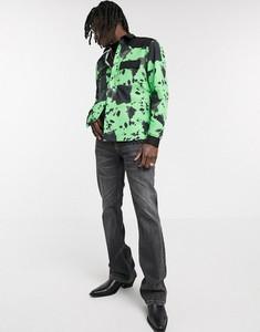 Zielona koszula Asos z klasycznym kołnierzykiem z zamszu