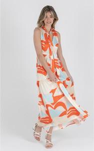 Sukienka Zibi London maxi w stylu casual z dekoltem w kształcie litery v
