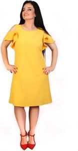 Żółta sukienka Exclusive Line z tkaniny trapezowa