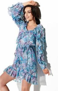 Niebieska sukienka Lemoniade z jedwabiu