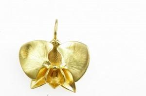 Venus Galeria Wisiorek srebrny - Złota orchidea mała