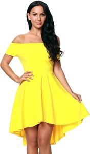 Elegrina elegancka sukienka cicci żółta bez ramiączek