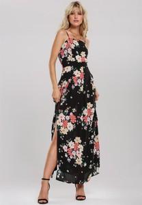Sukienka Renee z dekoltem w karo maxi na ramiączkach