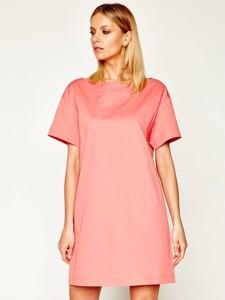 Różowa sukienka Max & Co. z okrągłym dekoltem z krótkim rękawem w stylu casual
