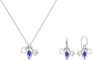 Irbis.style srebrny komplet biżuterii - kolczyki i naszyjnik z kryształem Swarovski®