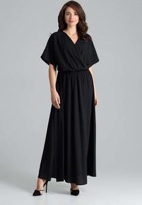 Granatowa sukienka Katrus z krótkim rękawem kopertowa maxi