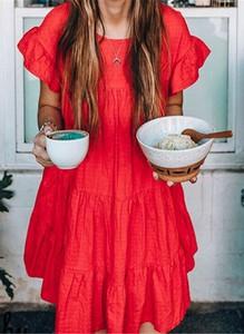 Czerwona sukienka Cikelly z krótkim rękawem z okrągłym dekoltem