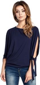 Niebieska bluzka Be z dekoltem w kształcie litery v z długim rękawem w stylu casual