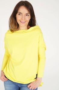 Bluzka Unisono z okrągłym dekoltem z bawełny z długim rękawem