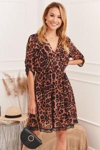Sukienka Fasardi z tkaniny kopertowa