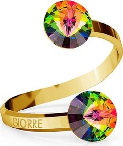 GIORRE SREBRNY PIERŚCIONEK SWAROVSKI RIVOLI 8MM 925 : Kolor kryształu SWAROVSKI - Crystal VM, Kolor pokrycia srebra - Pokrycie Żółtym 24K Złotem